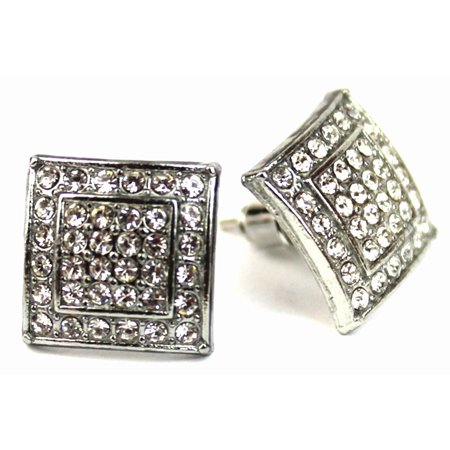 Micro Pave Square Silver Stud Earrings 11 mm Men Women Unisex ()