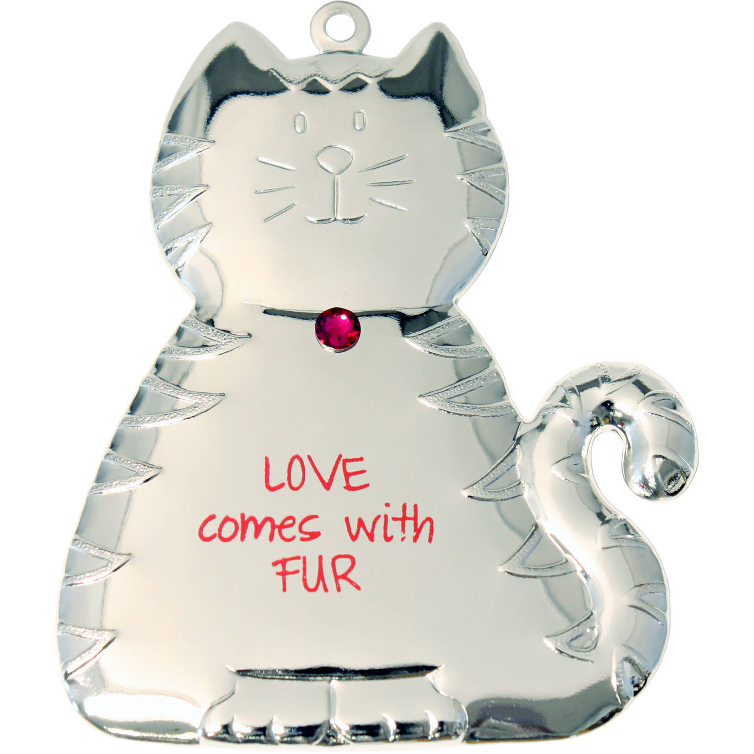 Silvertone Dapped Cat Ornament