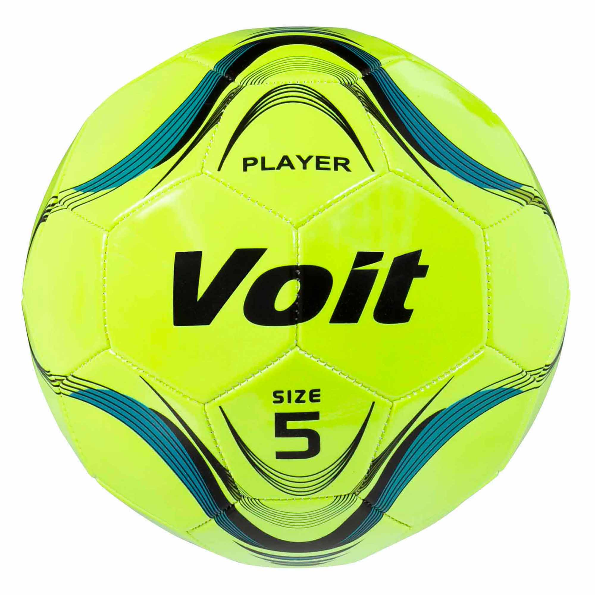 Voit Size 5 Player Soccer Ball, Deflated, Neon Yellow