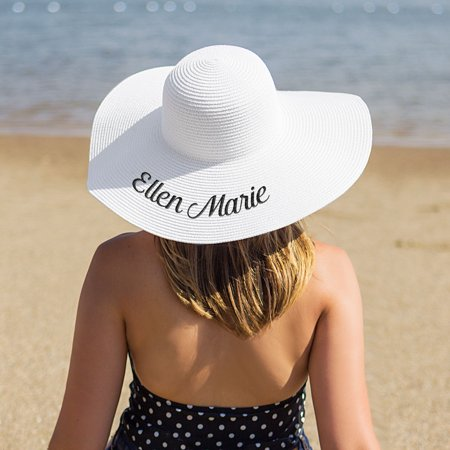 Beach Party Ideas (Personalized White Sun Hat)