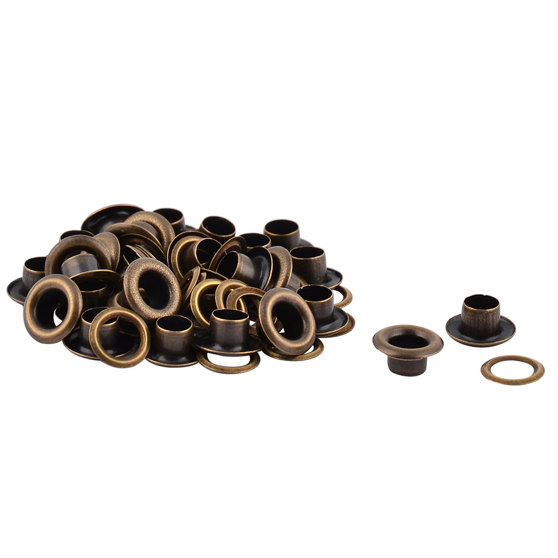 Cloth Bag Craft Metal Machine Grommet Washer Hole Eyelet Hollow Rivet Bronze Tone 30 Pieces