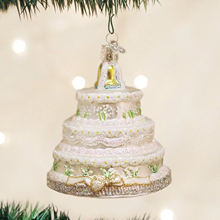 old world christmas wedding cake glass blown ornament