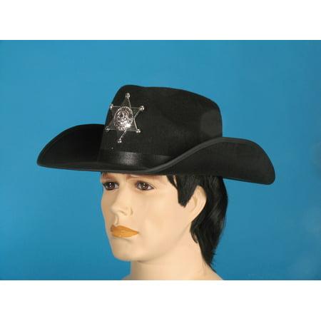 Loftus Wild West Sheriff Curved Sides Cowboy Hat, Black, One Size