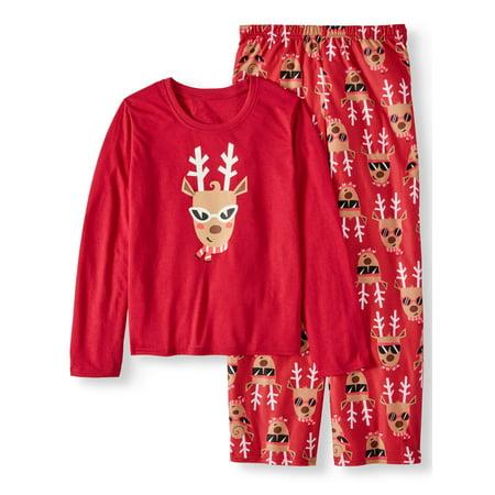 Holiday Family Sleep Reindeer 2-Piece Pajama Set (Little Girls and Big Girls)