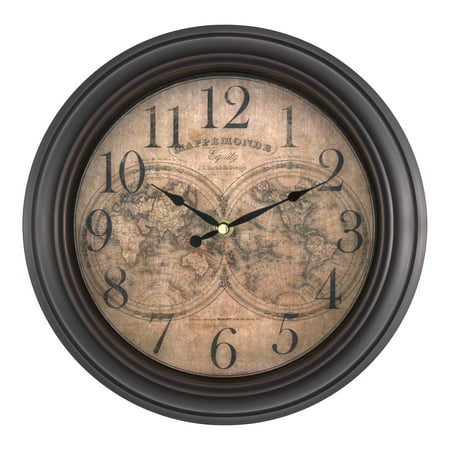 Equity by La Crosse 20837 12 Inch World Map Wall Clock