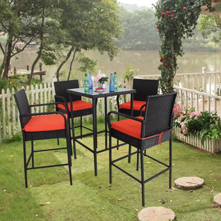 Pleasing Patio Bar Set 5Pcs Black Rattan Bar Table W 4 Stools Bar Set Party Furniture Outdoor Dining Set Garden Wicker Bar Set Easy Assembly Orange Cushion Spiritservingveterans Wood Chair Design Ideas Spiritservingveteransorg