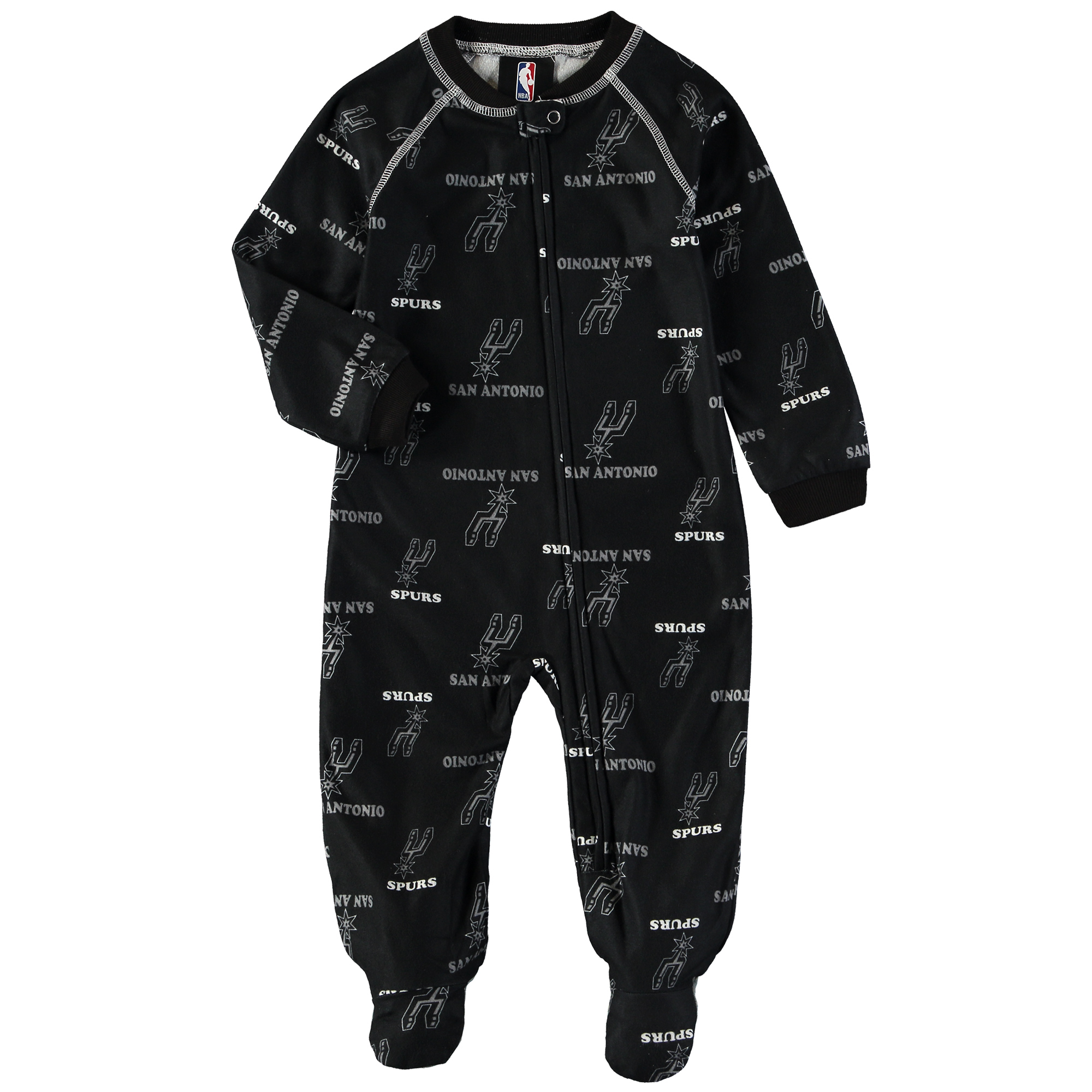 San Antonio Spurs Infant Zip-Up Raglan Coverall - Black