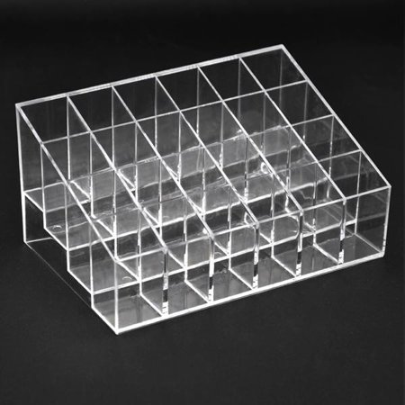 Lipstick Case Mirror (24 Clear Acrylic Lipstick Holder Display Stand Cosmetic Organizer Makeup Case )