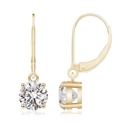 Angara April Birthstone Round Diamond Leverback Earrings In 14k Yellow Gold 6 5mm Se0924d Yg Iji1i2 5