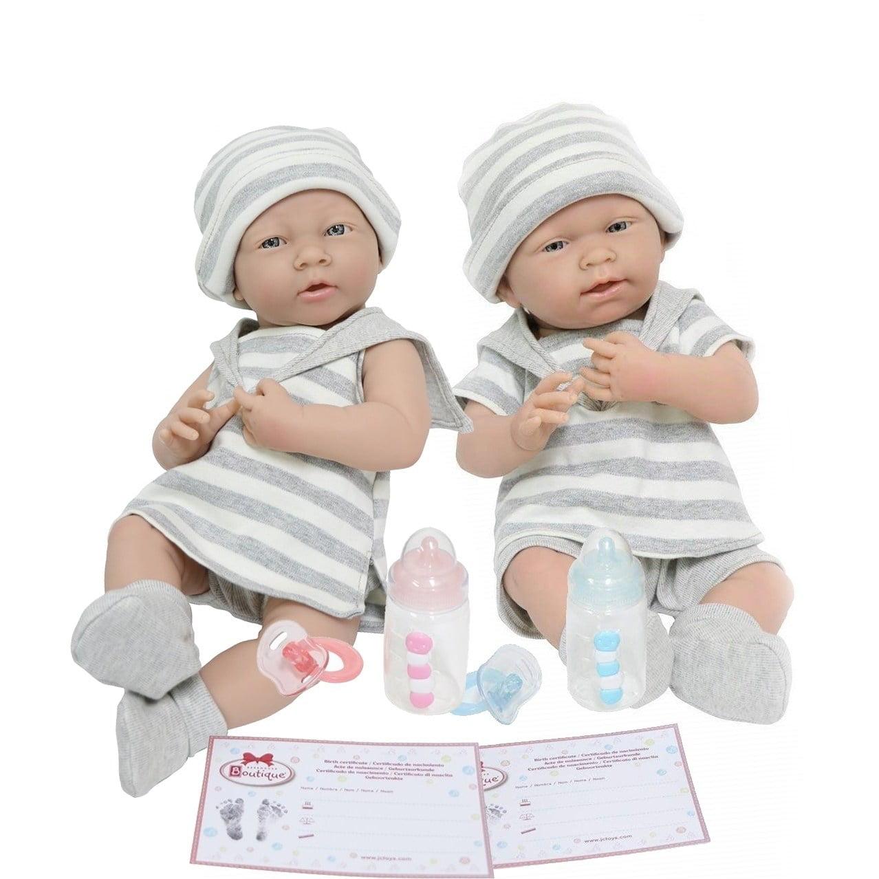 """JC Toys Realistic 15"""" Boy and Girl Twin Dolls with Grey Stripe Pajamas"""