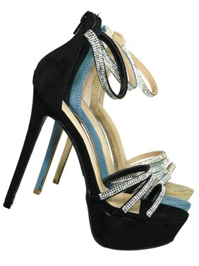 ebacd770a Product Image Malia01 by Wild Diva, Rhinestone High Heel Platform Dress  Sandals - Women Ankle Strap Heels