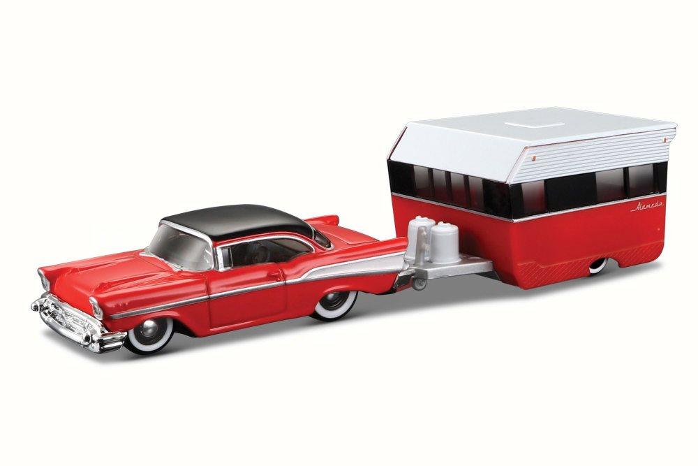 1957 Chevy Bel Air w  Alameda Trailer, Red Maisto 15368BAL 1 64 Scale Diecast Model Toy... by Maisto