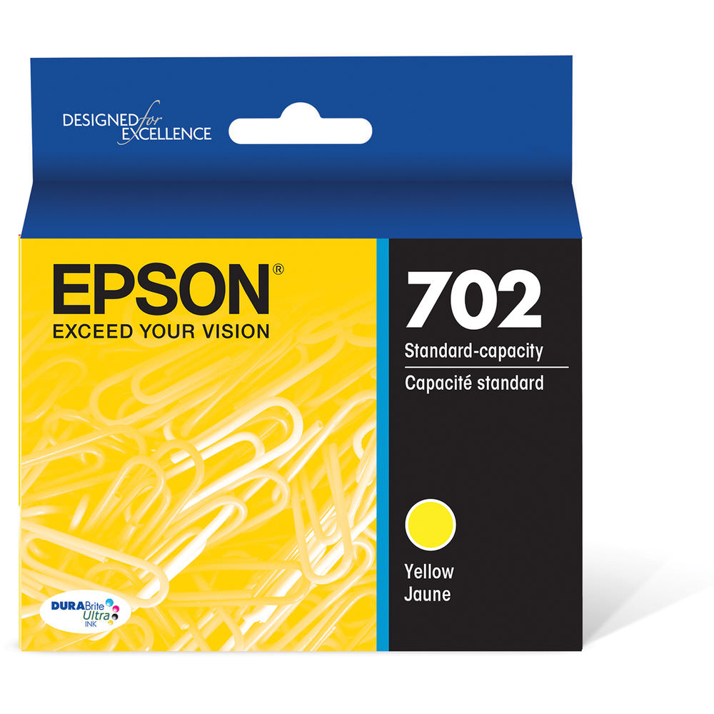 Epson 702 Yellow DURABrite Ultra Standard-Capacity Ink Cartridge with Sensormatic