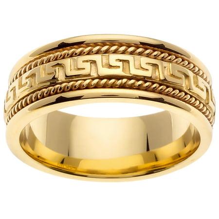 18K Gold Greek Key Modern Comfort Fit Men's Wedding Band (8mm)