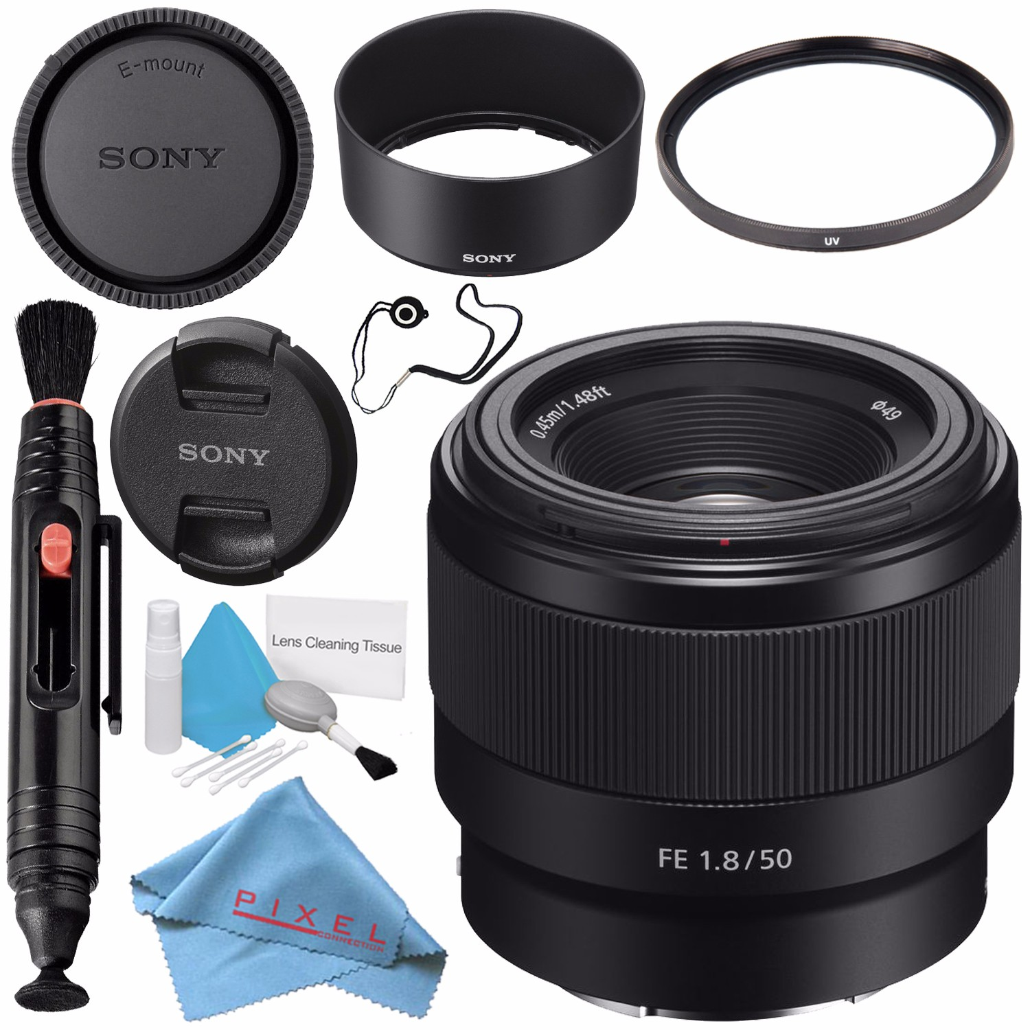 Sony FE 50mm f/1.8 Lens SEL50F18F + 49mm 3 Piece Filter Kit + 64GB SDXC Card + Lens Pen Cleaner + Fibercloth + Lens Capkeeper + Deluxe Cleaning Kit Bundle