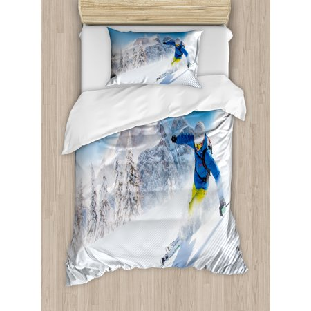 Winter Twin Size Duvet Cover Set, Skier Skiing Downhill in High Mountains Extreme Winter Sports Hobby Activity, Decorative 2 Piece Bedding Set with 1 Pillow Sham, Blue White Yellow, by Ambesonne ()