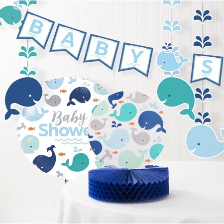 Blue Baby Whale Baby Shower Decorations Kit