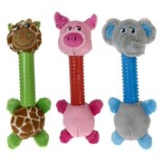 """Dog Toys Silly Long Neck Plush Characters Tossers Giraffe Pig or Elephant 12.5"""" (Full Set - All 3 Characters)"""