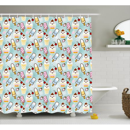 Ice Cream Decor Shower Curtain, Cute Cupcakes with Face Figures Cone ...