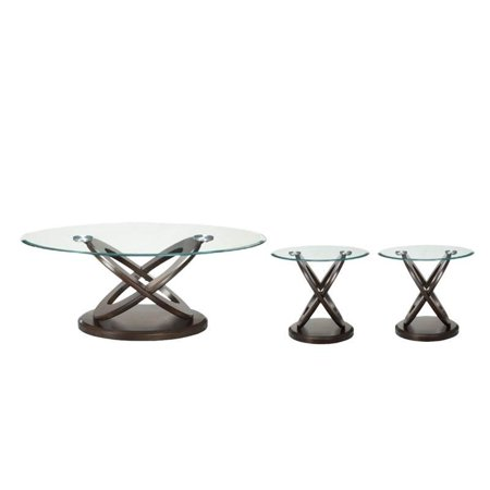 3 piece coffee table set with glass top round coffee table and set of 2 end table in espresso. Black Bedroom Furniture Sets. Home Design Ideas