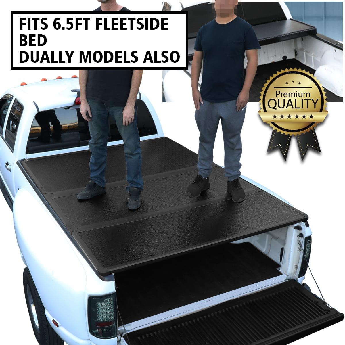 For 1999 To 2018 Ford F250 F350 F450 Super Duty Fleetside 6 5ft Short Bed Hard Solid Tri Fold Tonneau Cover Walmart Com Walmart Com