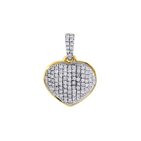 Diamond Heart Pendant 14K Yellow Gold Domed Charm Necklace 0.18