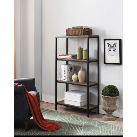 Kinley Gray Wood & Black Metal Frame Industrial Style 4 Tier Shelf Storage Bookcase Home & Office Organizer Display Unit Display Cabinet 4 Tier
