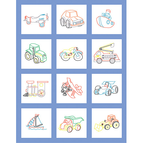 "Fairway Needlecraft Toy Vehicle Stamped Baby Quilt Blocks, 9"" x 9"""