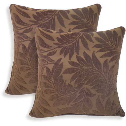 Alessandra Chenille Leaves Jacquard Toss Pillow, Set of 2