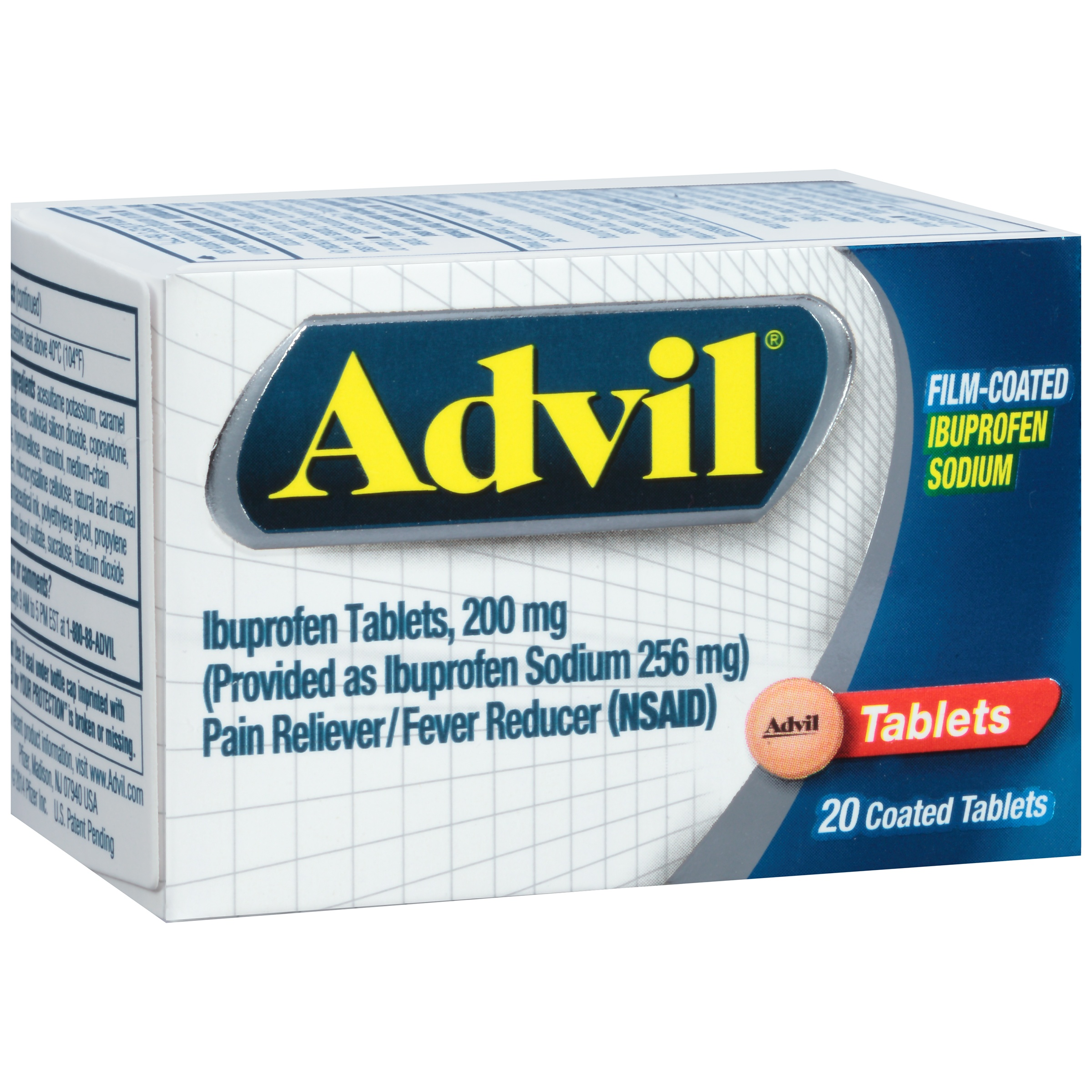 Advil Film-Coated (20 Count) Pain Reliever / Fever Reducer Tablet, 200mg Ibuprofen, Temporary Pain Relief