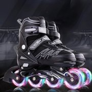 Black Adjustable Inline Skates Light Up Wheels, for Kids and Adults Boys and Girls, Men and Ladies (Size J7.5 - US 7)