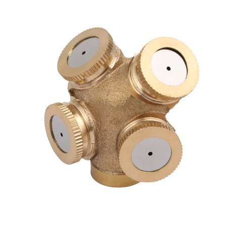 Unique Bargains M14 Copper 4 Holes Spray Sprinklers Misting Nozzle Irrigation Connector Fitting