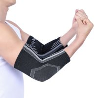 Doc Miller Premium Elbow Brace Compression Sleeve - 1 Pair Tennis Elbow Brace, Crucial Golfer's Elbow Support, Arthritis and Tendinitis Stability Basketball Gym Weightlifting GRAY