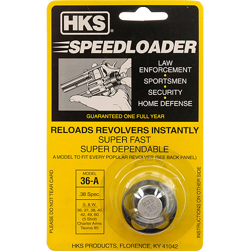 HKS Revolver Speedloader for Charter Arms, Rossi 68, Ruger SP101, S&W 36, 37, 38, 40, 42, 49, 60 38 Spec