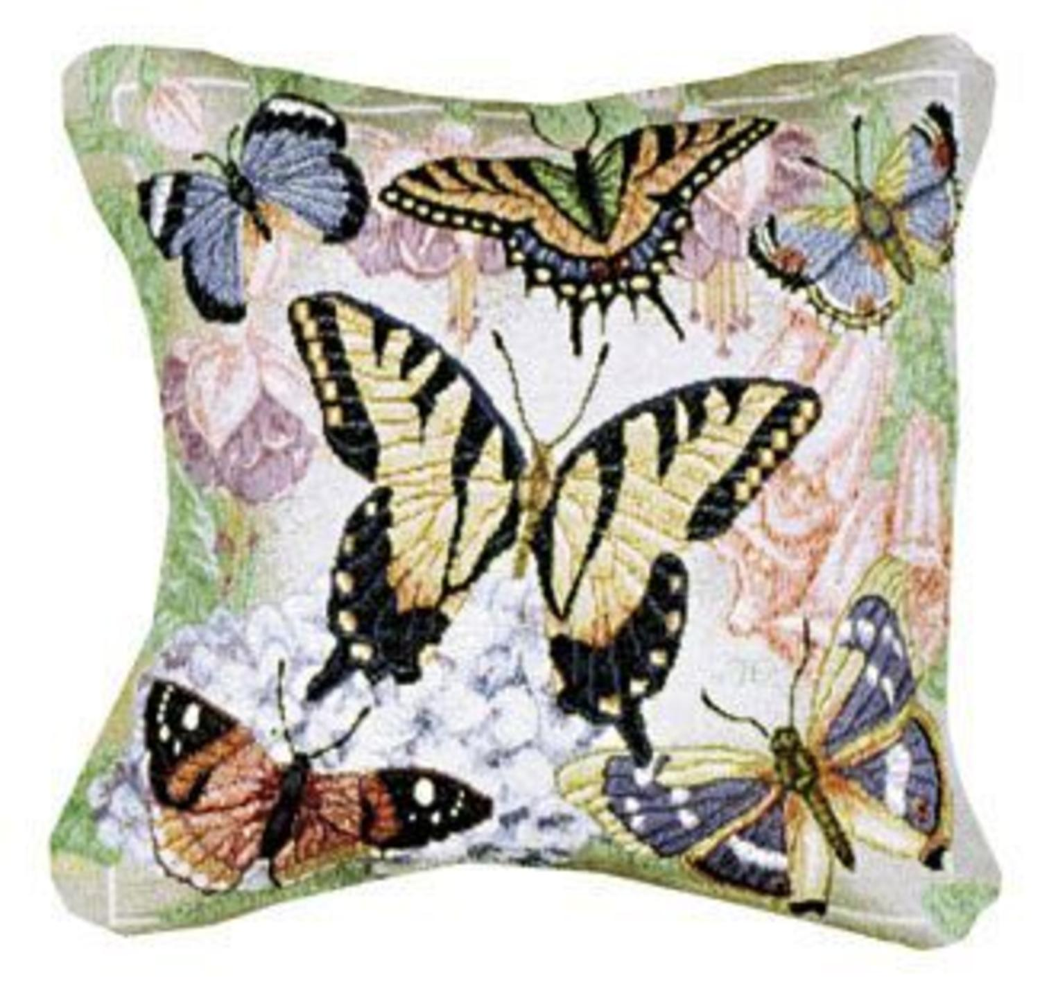 "Pack of 2 Decorative Butterfly Flowers Throw Pillows 12"" x 12"""