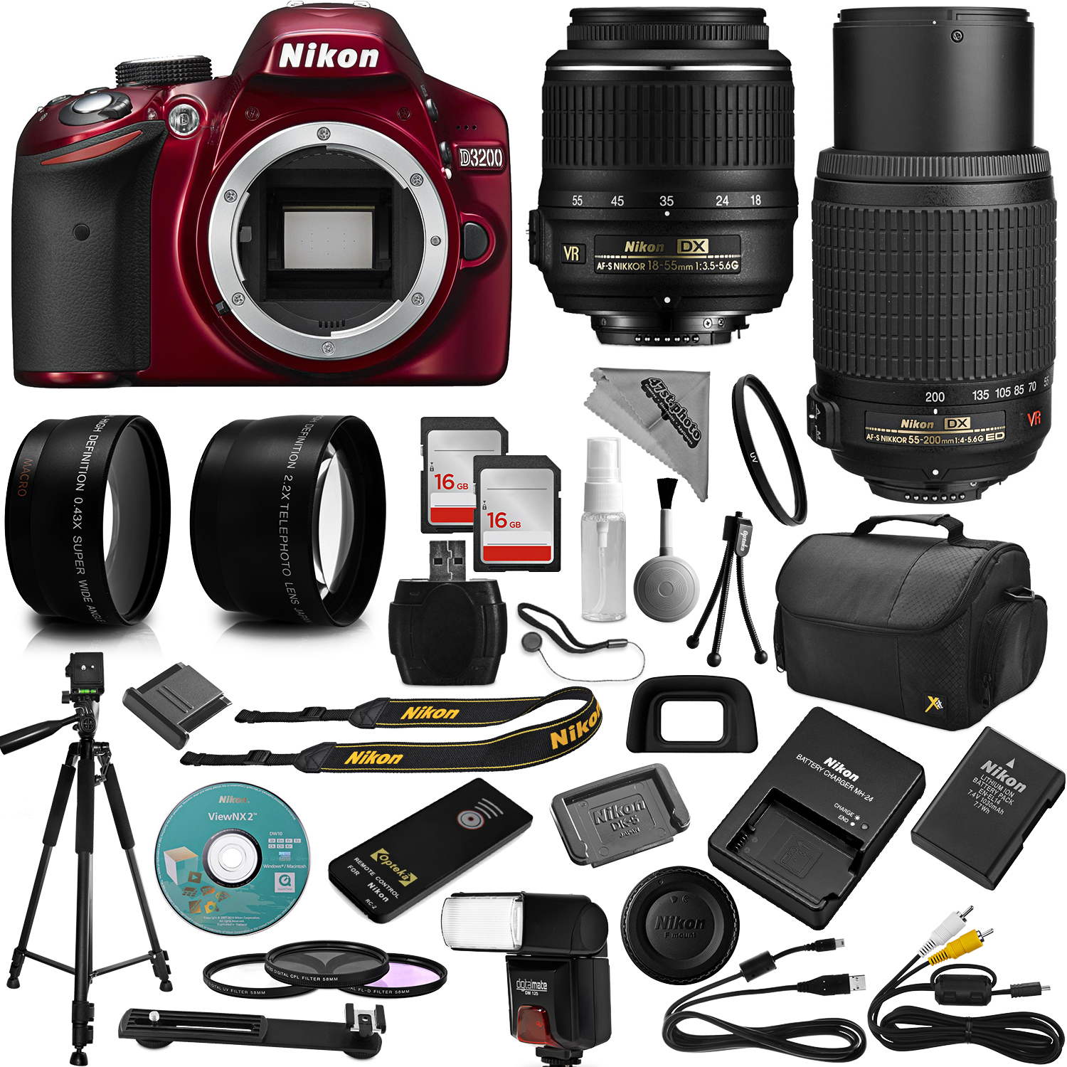 Red Nikon D3200 DSLR Camera + 18-55mm and 55-200mm AF-S D...