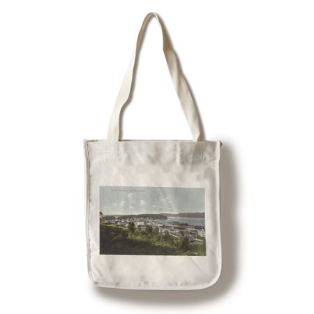 North Bend, Oregon - Aerial View of the City and Coos Bay (100% Cotton Tote Bag - - Halloween Store Bend Oregon