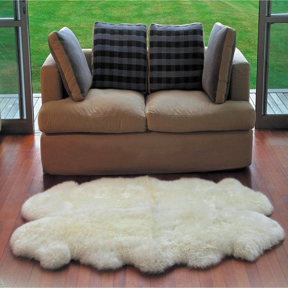 Genuine Australian Sheepskin Fur Rug, Ivory White, 4' X 5