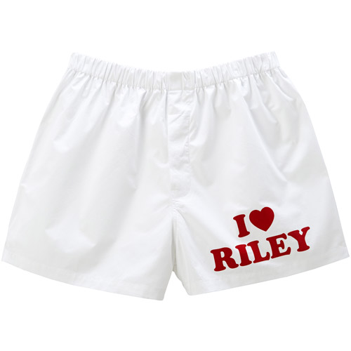 Personalized I Heart Mens Boxers - White