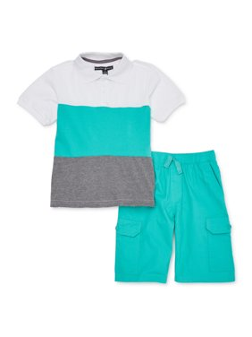 Beverly Hills Polo Club Boys Polo Shirt & Twill Cargo Shorts, 2-Piece Outfit Set, Sizes 4-12