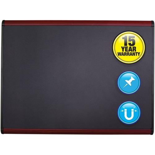 "Quartet Prestige Plus Magnetic Fabric Bulletin Board - 24"" Height x 36"" Width - Gray Fabric Surface - Aluminum Frame - 1"