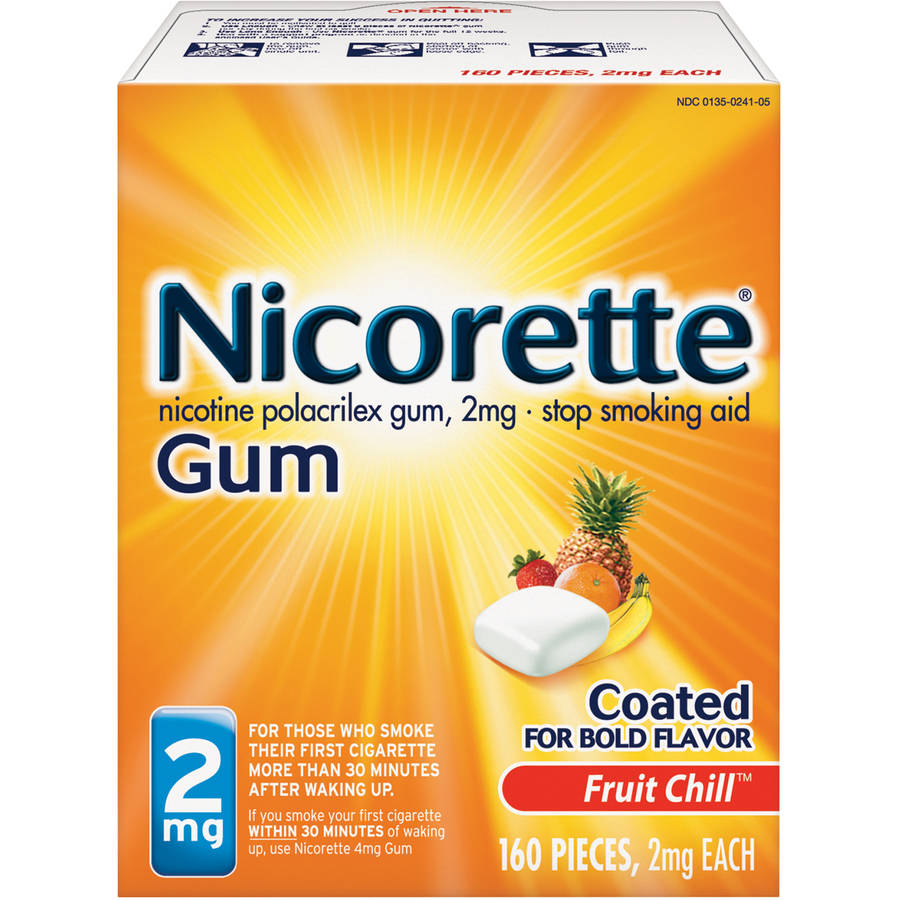 Nicorette Gum Fruit Chill Stop Smoking Aid, 2mg, 160 count