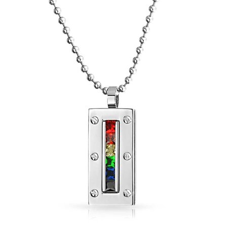 Colorful Gay Pride CZ Rainbow Dog Tag Pendant Necklace Polished Stainless Steel Bead Chain For Men For Women 20IN (Gay Pride Jewelry Wholesale)