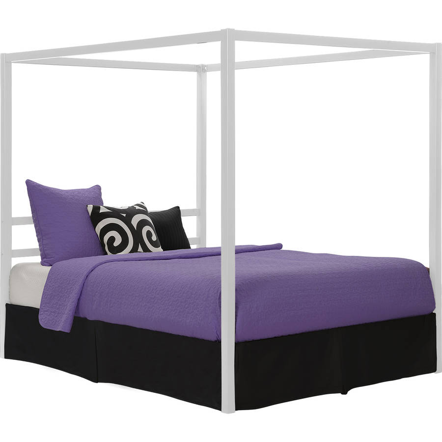 metal canopy bed frame queen size with headboard platform modern bedroom white 689829294526 ebay. Black Bedroom Furniture Sets. Home Design Ideas