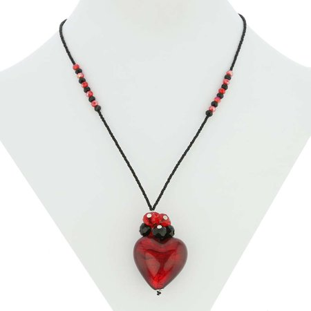 - GlassOfVenice Murano Glass Venetian Love Heart Necklace - Ruby Red and Black