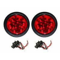 "Set of 2 Red 4"" Round 10 LED Trailer Light Kits - 24003"