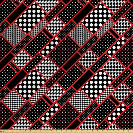 Red and Black Fabric by The Yard, Geometric Rectangle Frames Retro Patterns Polka Dots and Houndstooth, Decorative Fabric for Upholstery and Home Accents, by Ambesonne