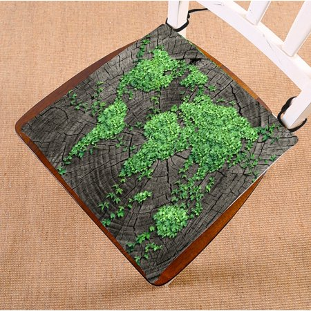 PHFZK Earth Map Chair Pad, World Map on Tree Trunk Natural Wood Seat Cushion Chair Cushion Floor Cushion Two Sides Size 16x16