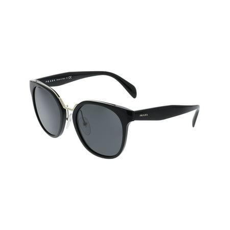 Prada Women's Mirrored PR17TS-1AB5S0-53 Black Round Sunglasses