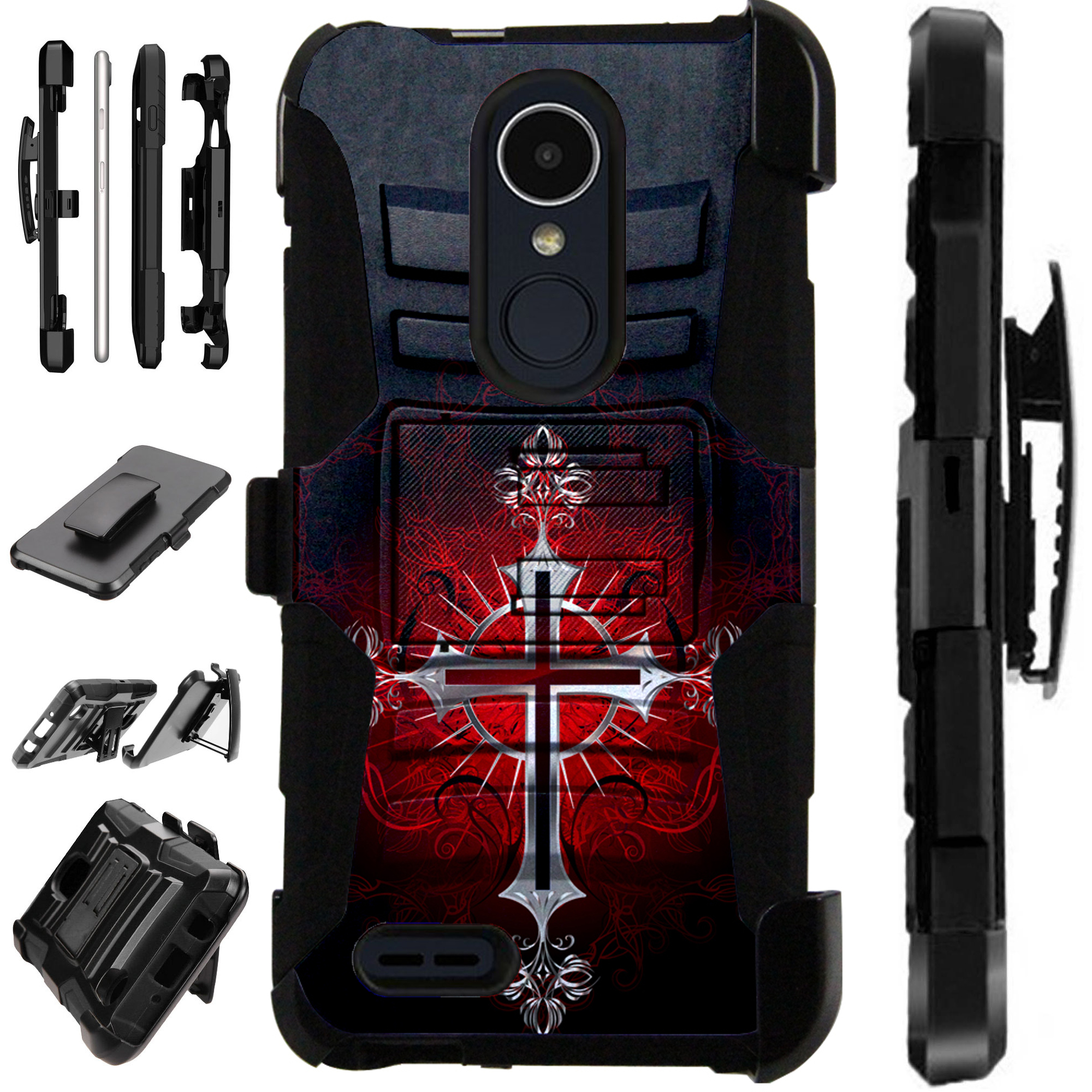 For LG Rebel 4 | LG Rebel 3 Case Armor Hybrid Silicone Cover Stand LuxGuard Holster (Red Gothic Cross)